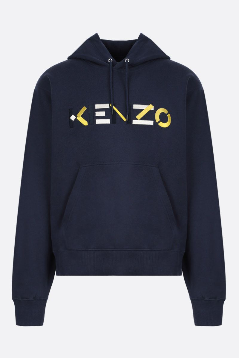 KENZO: Kenzo Logo cotton hoodie Color Blue_1