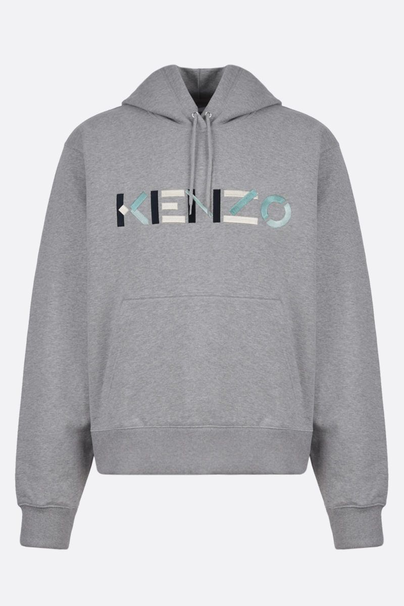KENZO: Kenzo Logo cotton hoodie Color Grey_1