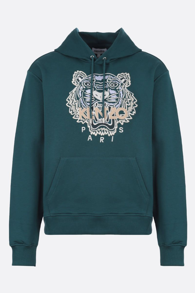KENZO: Tiger cotton hoodie Color Green_1