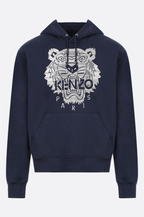 KENZO: Tiger cotton hoodie Color Blue_1