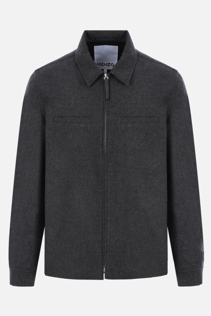 KENZO: K patch wool blend full-zip jacket Color Grey_1