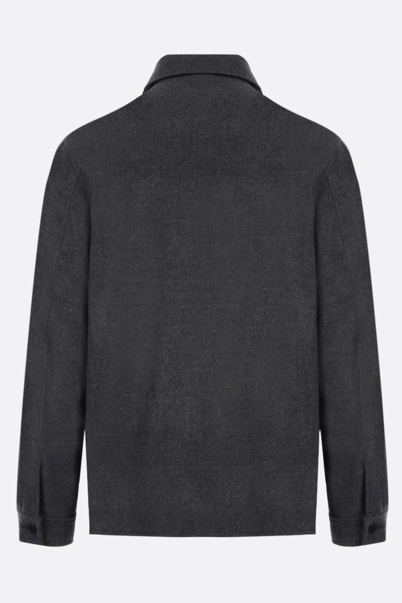 KENZO: K patch wool blend full-zip jacket Color Grey_2
