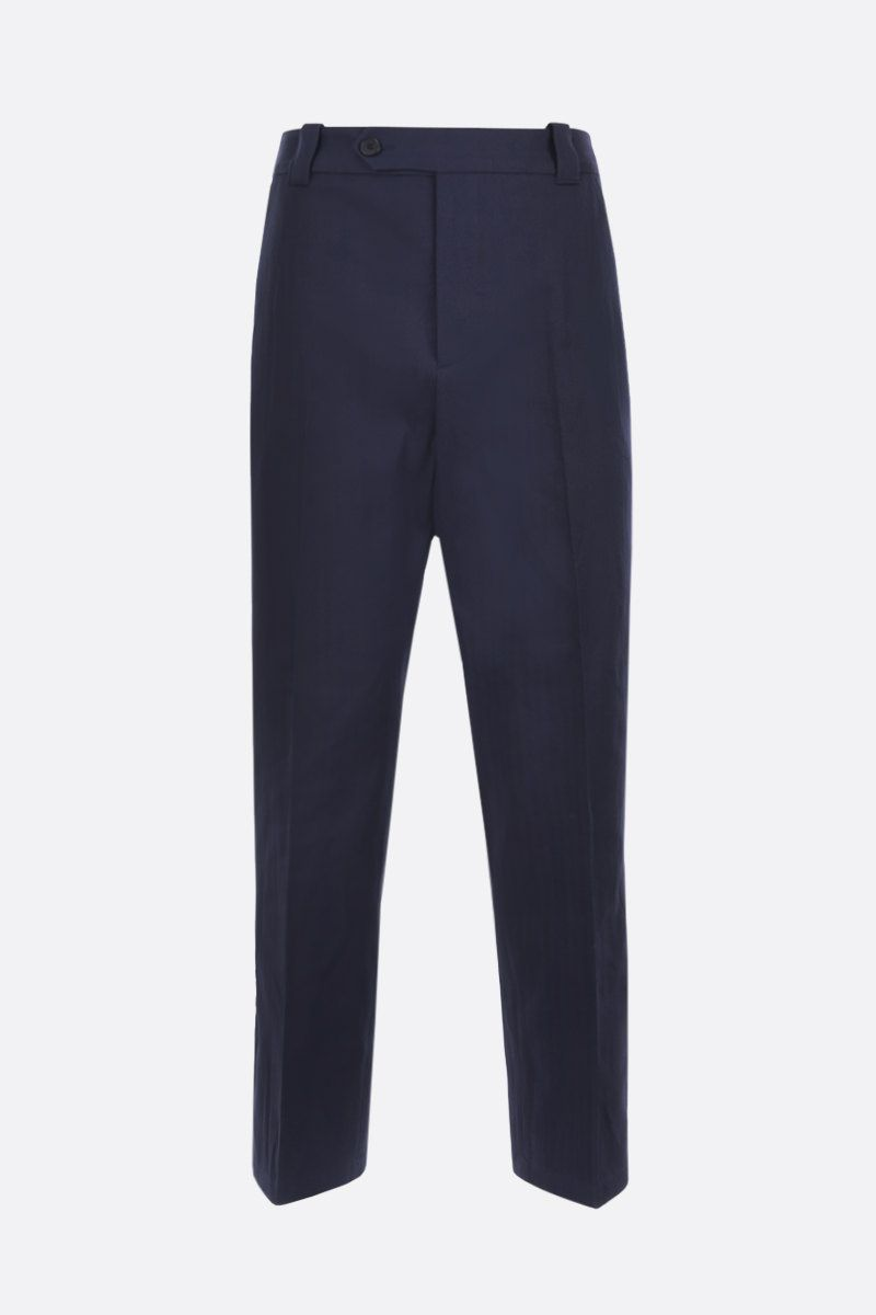 KENZO: K embroidered cotton linen blend cropped pants Color Blue_1