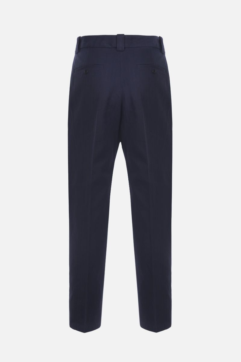 KENZO: K embroidered cotton linen blend cropped pants Color Blue_2