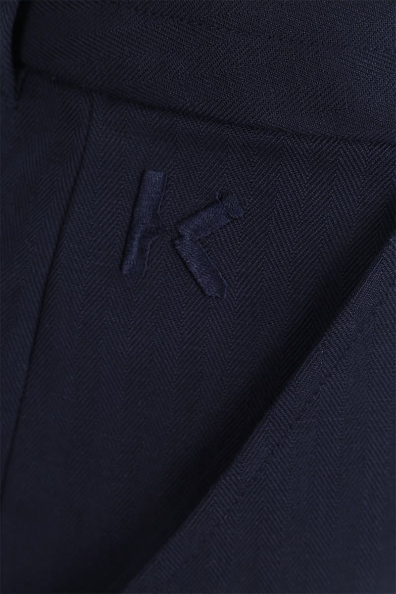 KENZO: K embroidered cotton linen blend cropped pants Color Blue_3