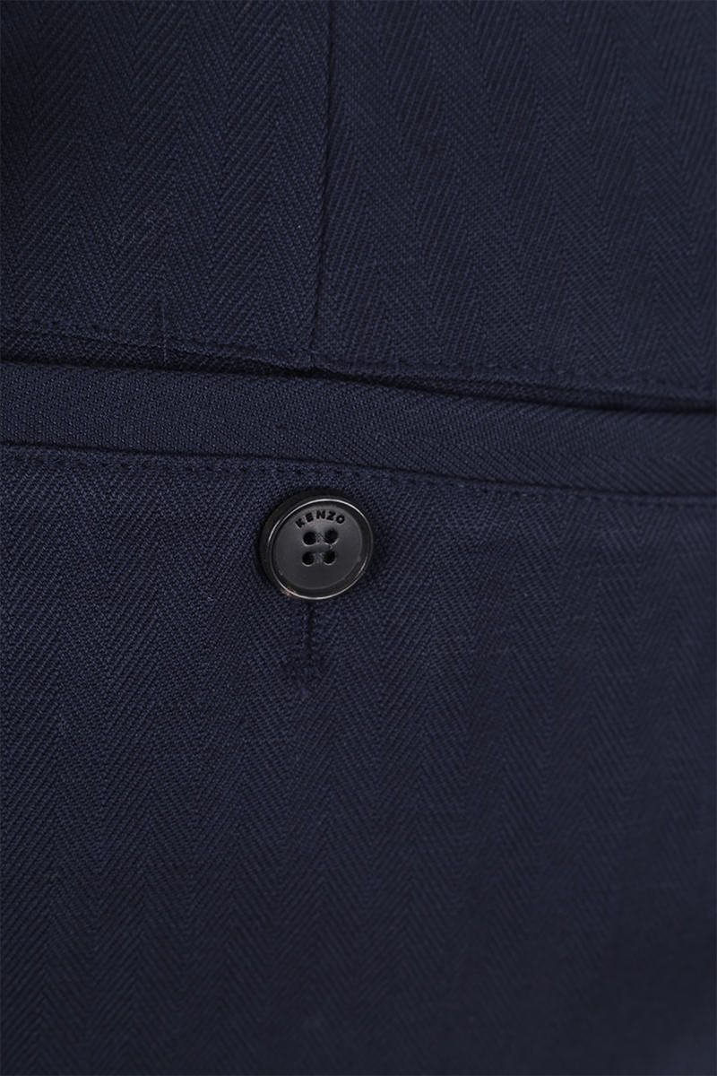 KENZO: K embroidered cotton linen blend cropped pants Color Blue_4