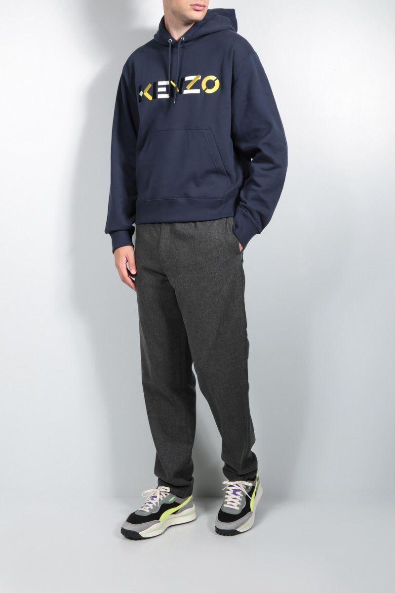 KENZO: K patch wool blend joggers Color Grey_3
