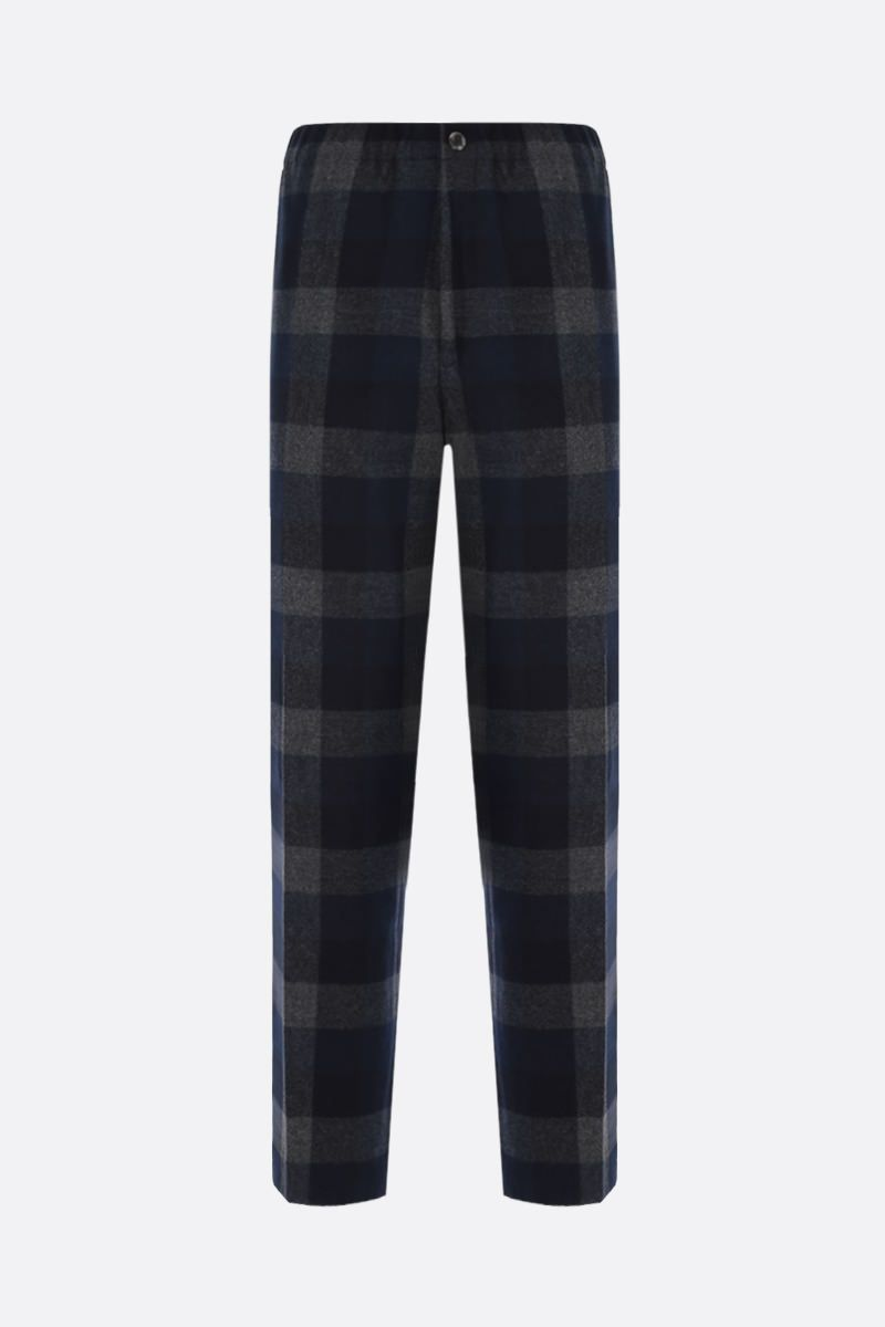 KENZO: pantalone jogging in misto lana a quadri patch K Colore Blu_1