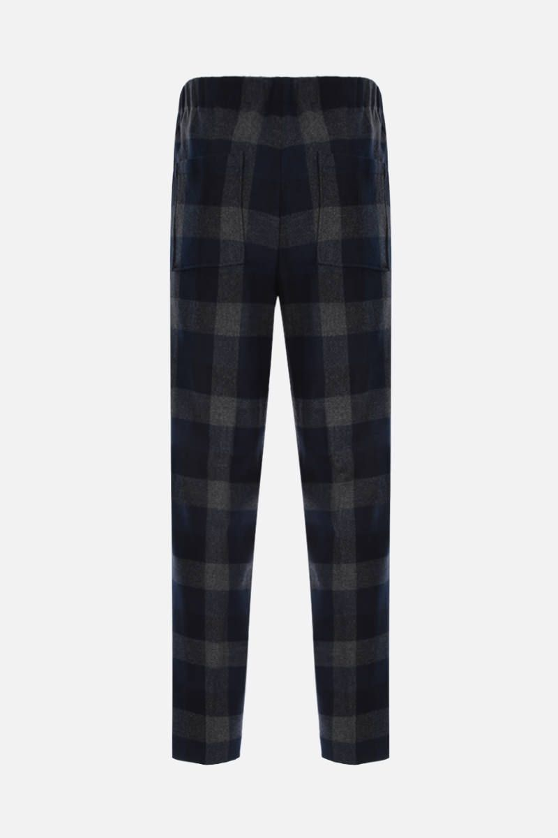 KENZO: K patch check wool blend joggers Color Blue_2