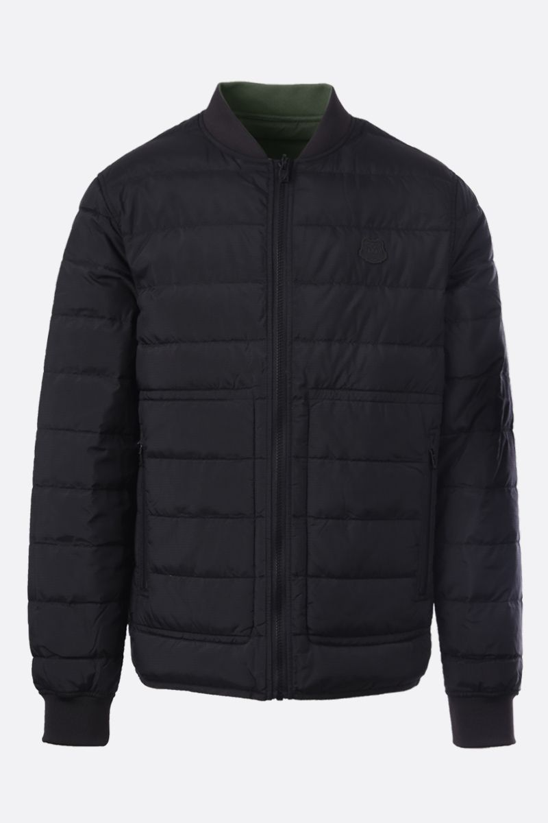 KENZO: Tiger Crest patch nylon reversible down jacket Color Black_1