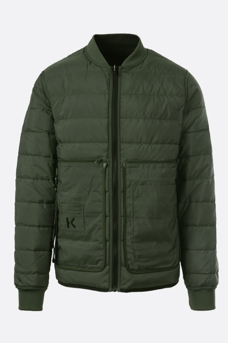 KENZO: Tiger Crest patch nylon reversible down jacket Color Black_2
