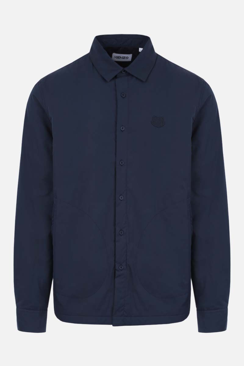 KENZO: Tiger Crest patch technical cotton padded overshirt Color Blue_1