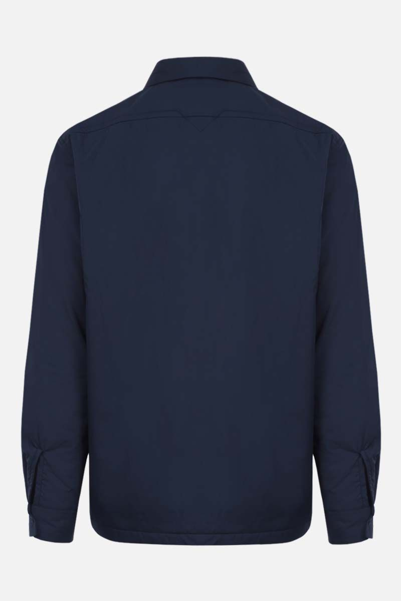 KENZO: Tiger Crest patch technical cotton padded overshirt Color Blue_2