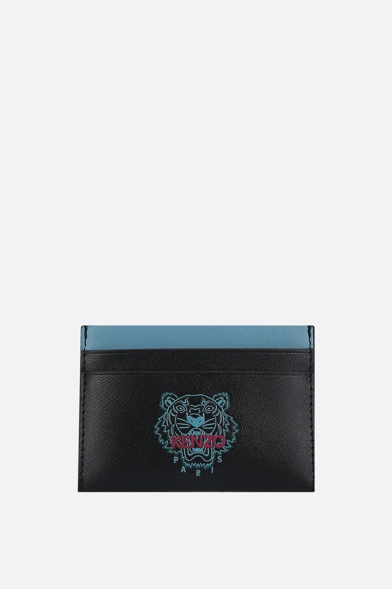 KENZO: Ekusson Tiger smooth leather card case Color Black_1