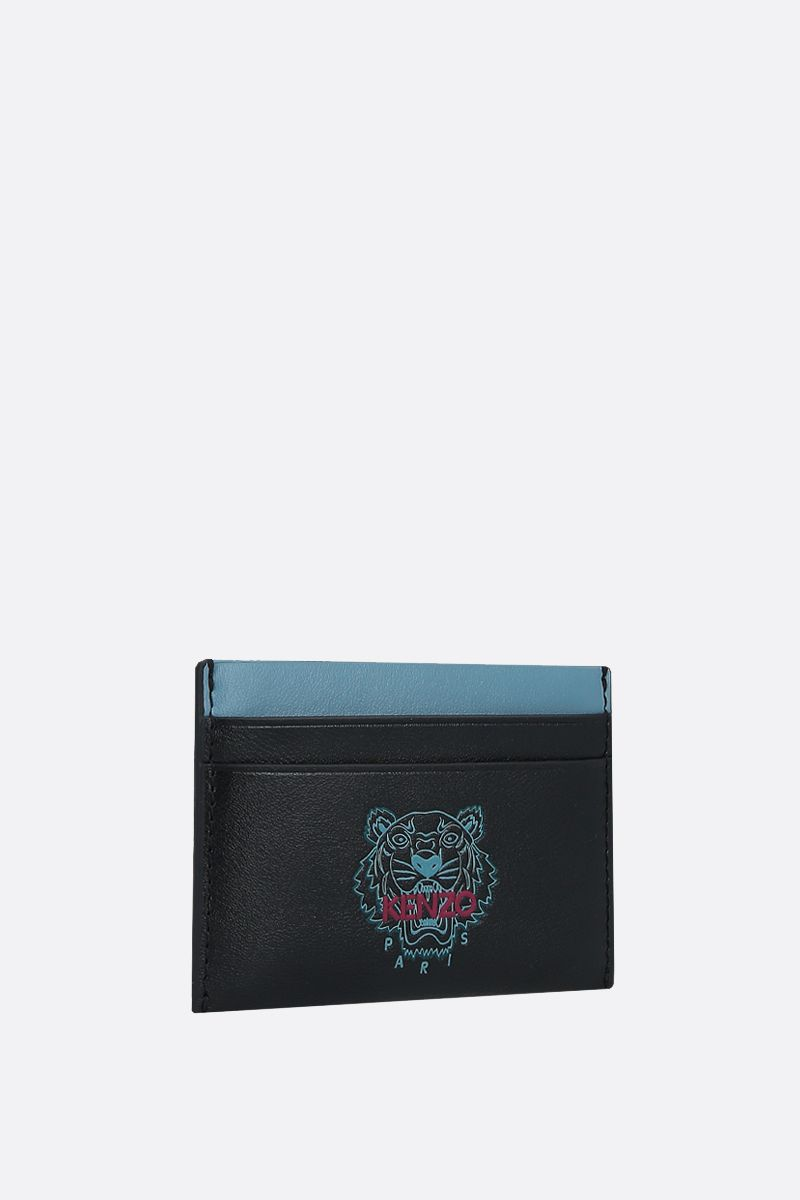 KENZO: Ekusson Tiger smooth leather card case Color Black_2