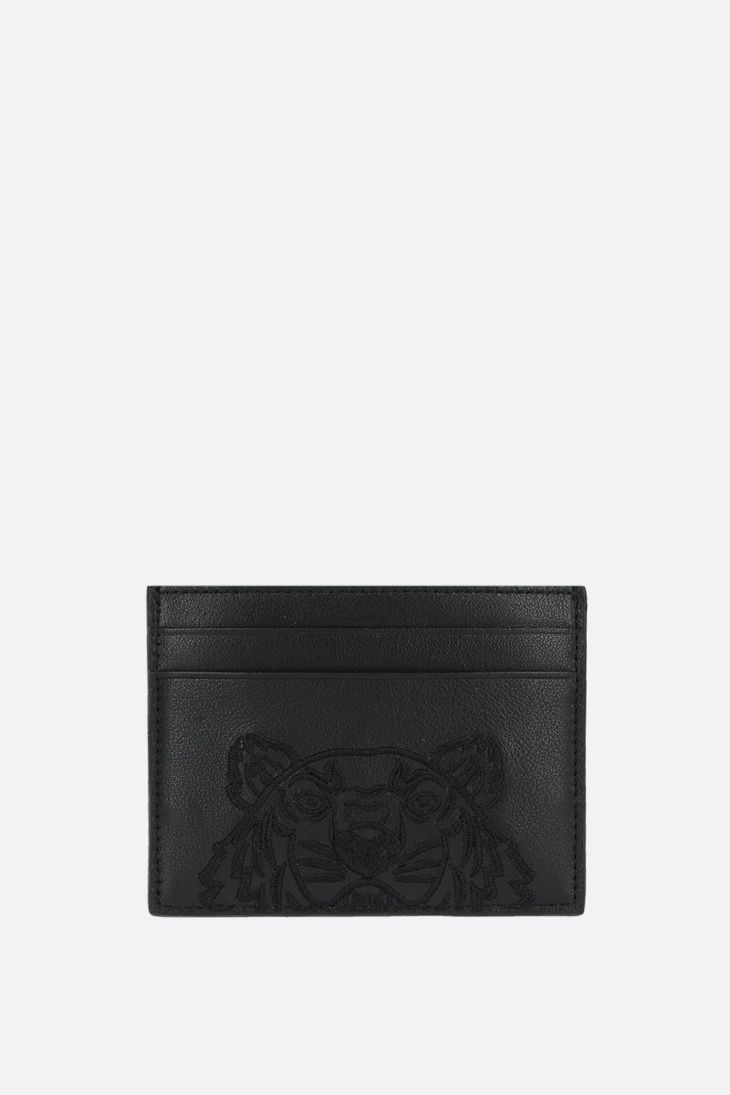 KENZO: KAmpus Tiger grainy leather card case Color Black_1