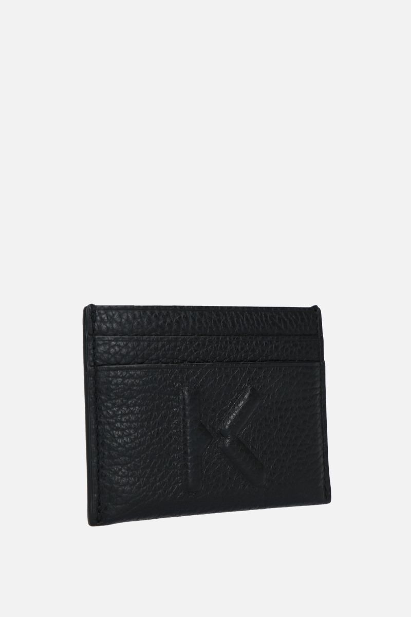 KENZO: K embossed grainy leather card case Color Black_2