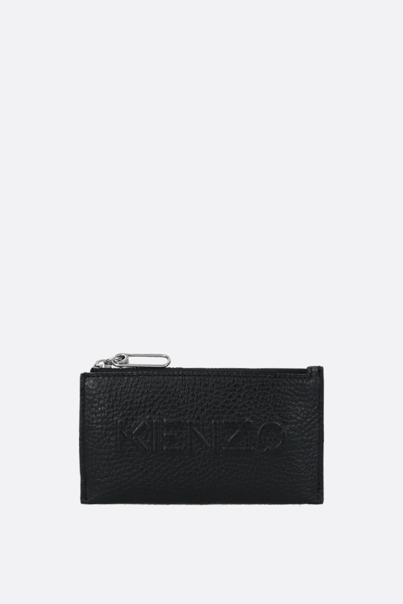 KENZO: grainy leather zip card case Color Black_1