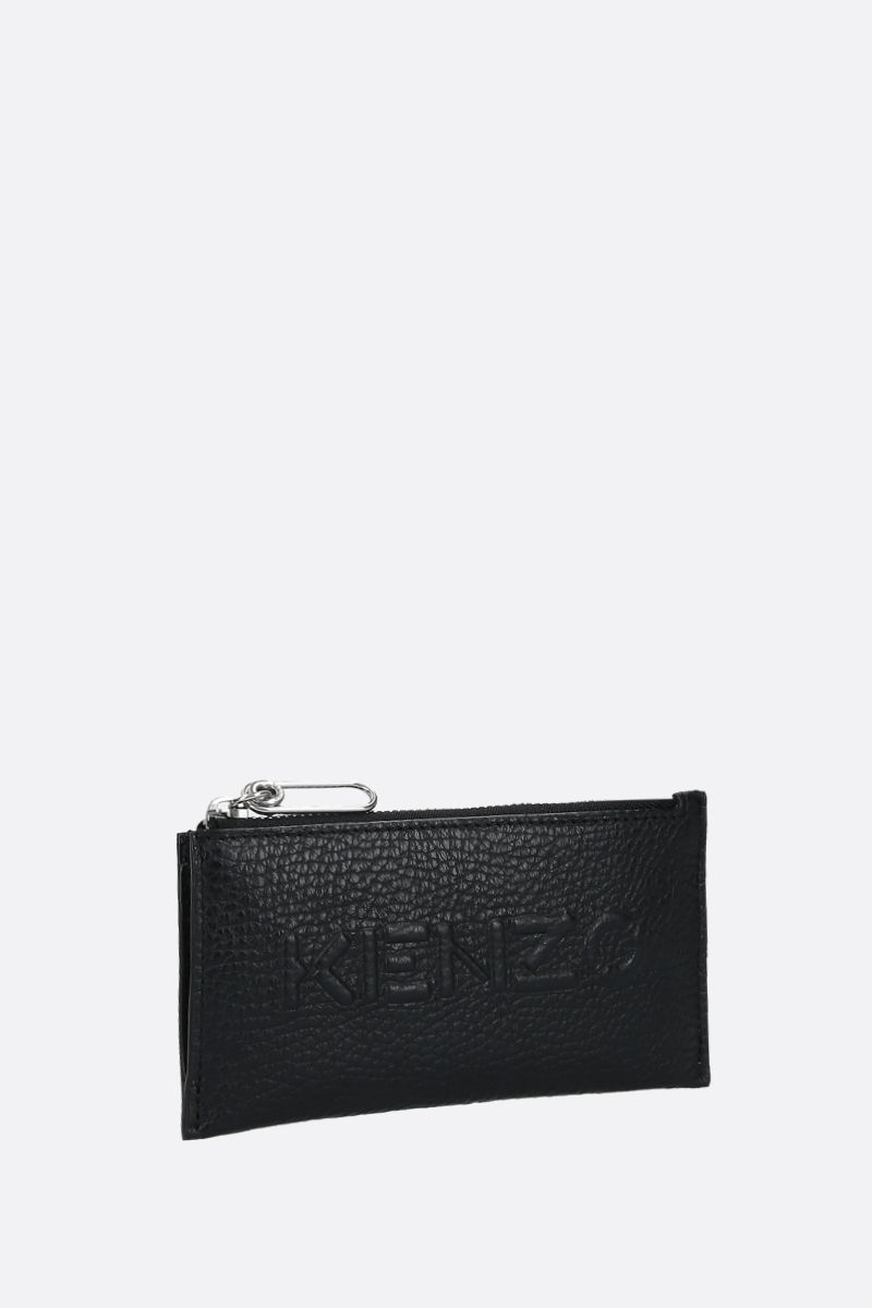 KENZO: grainy leather zip card case Color Black_2