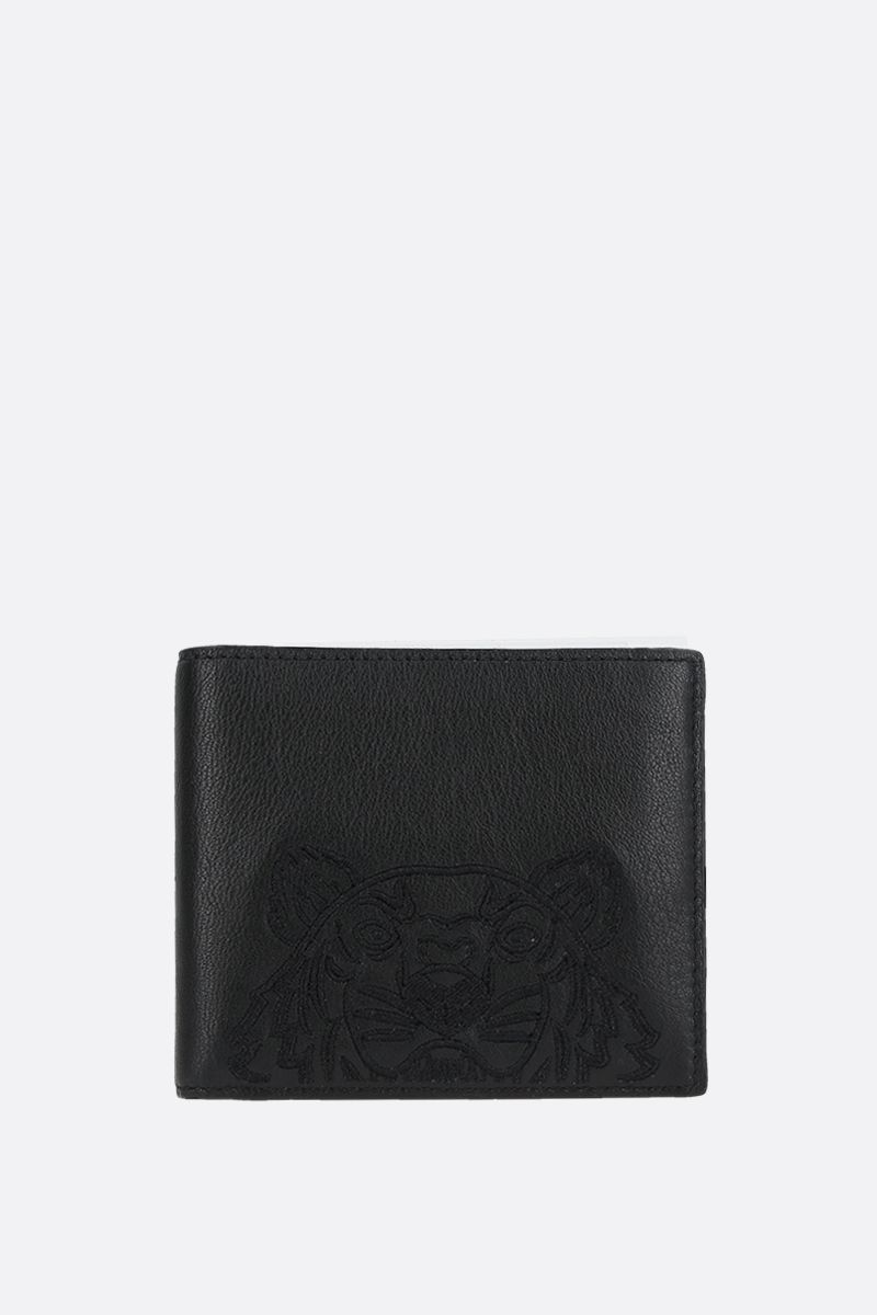 KENZO: Kampus Tiger grainy leather billfold wallet Color Black_1