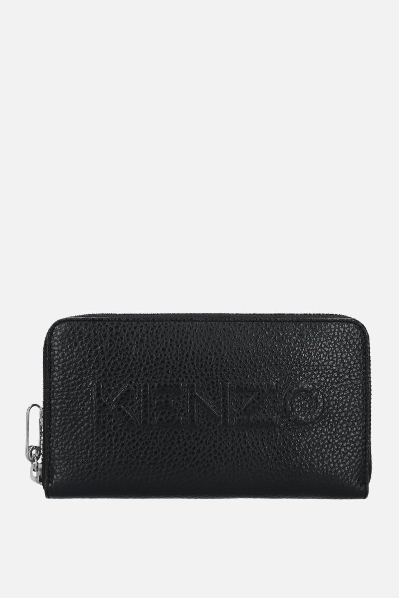 KENZO: embossed logo grainy leather zip-around wallet Color Black_1