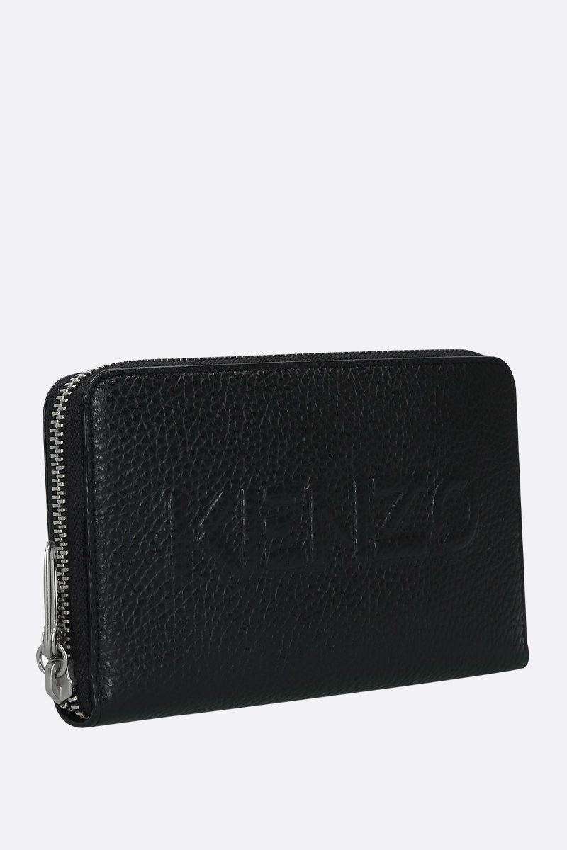 KENZO: embossed logo grainy leather zip-around wallet Color Black_2