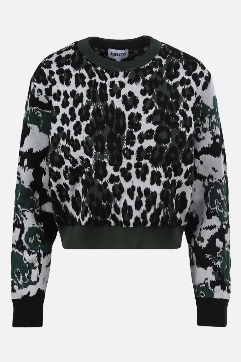 KENZO: leopard jacquard pullover Color Green_1