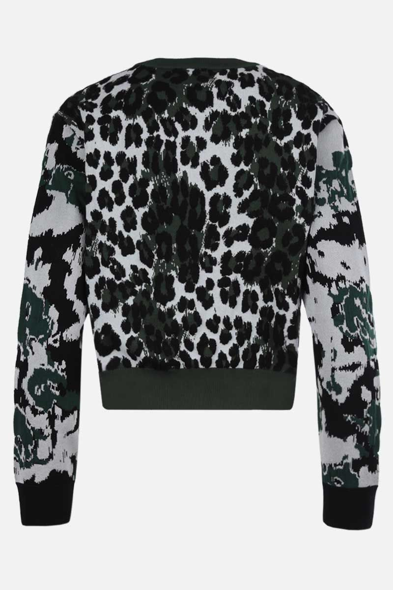 KENZO: leopard jacquard pullover Color Green_2