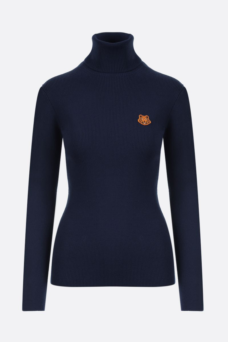 KENZO: Tiger Crest wool turtleneck Color Blue_1