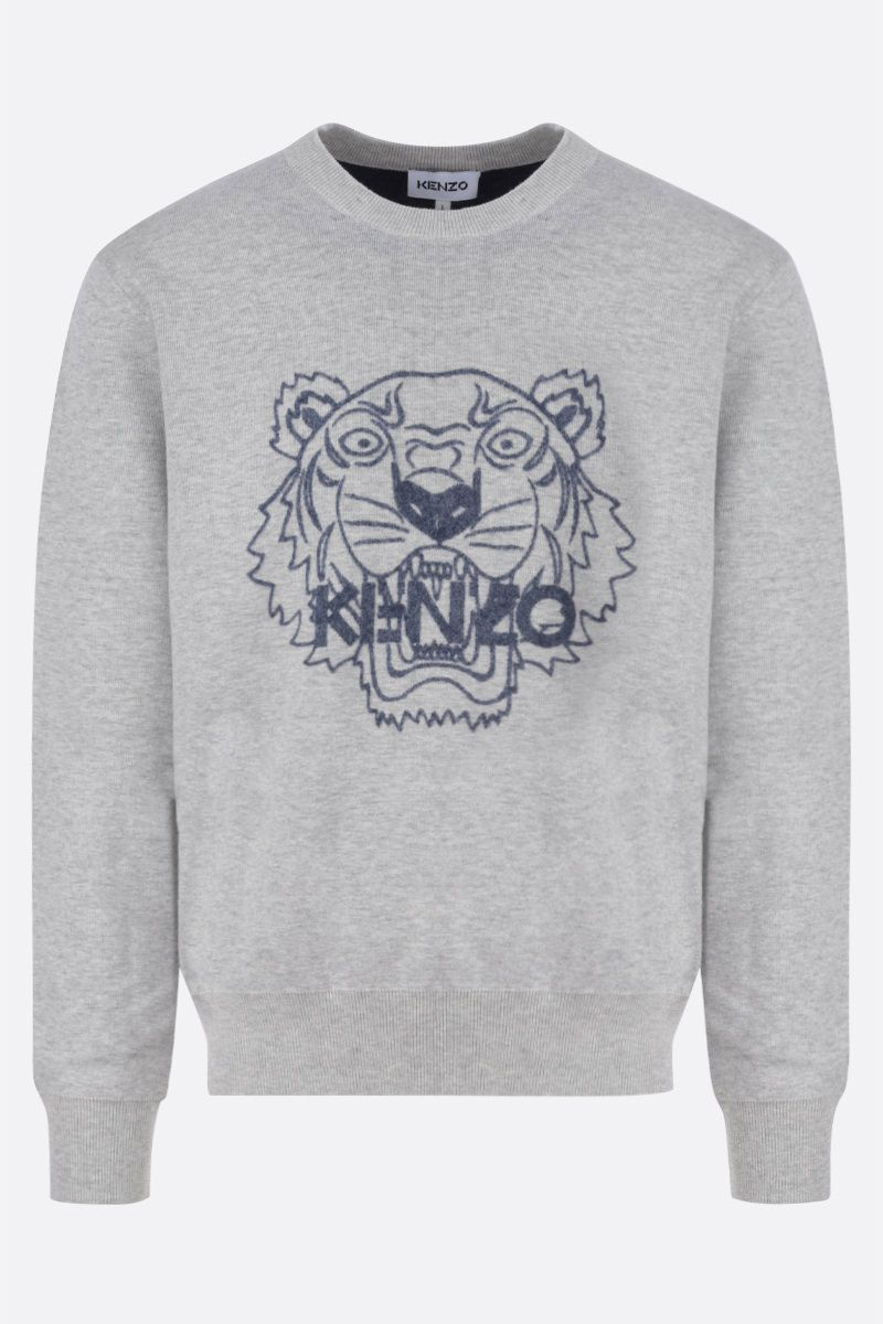 KENZO: Tiger wool cotton blend pullover Color Grey_1