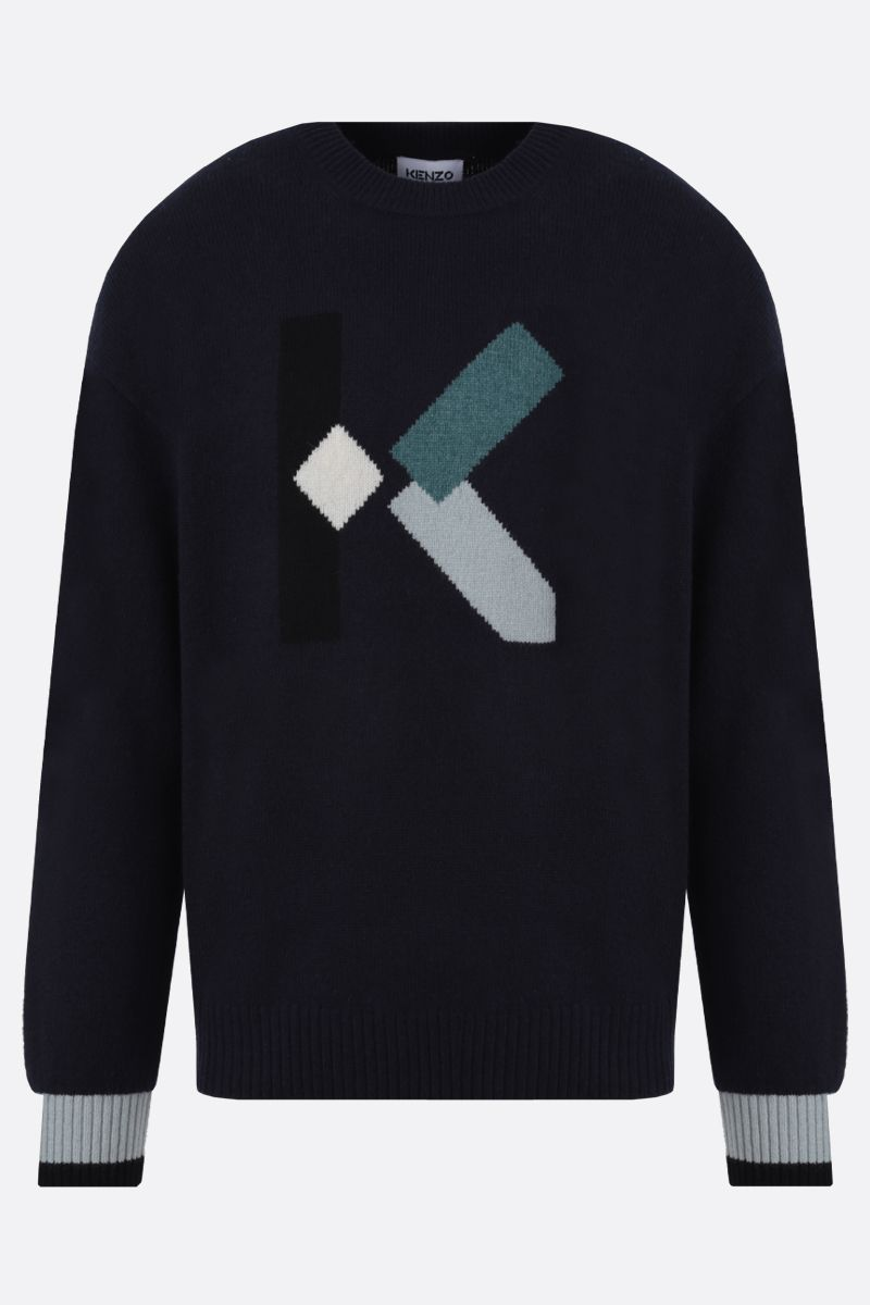 KENZO: K wool blend pullover Color Blue_1