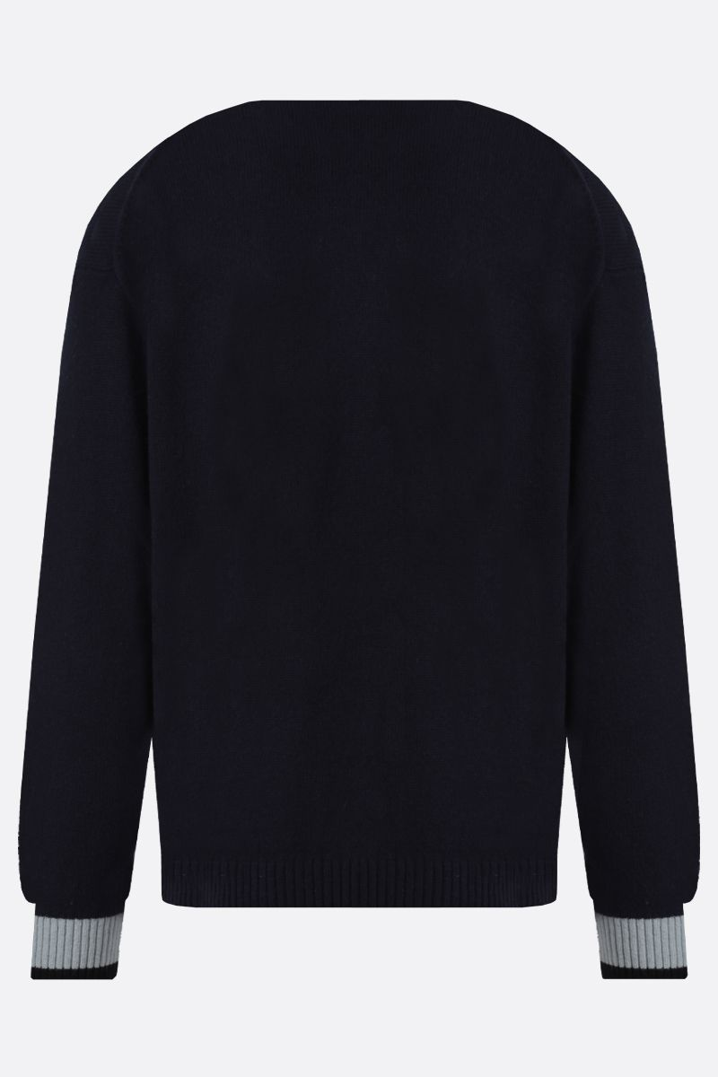 KENZO: K wool blend pullover Color Blue_2