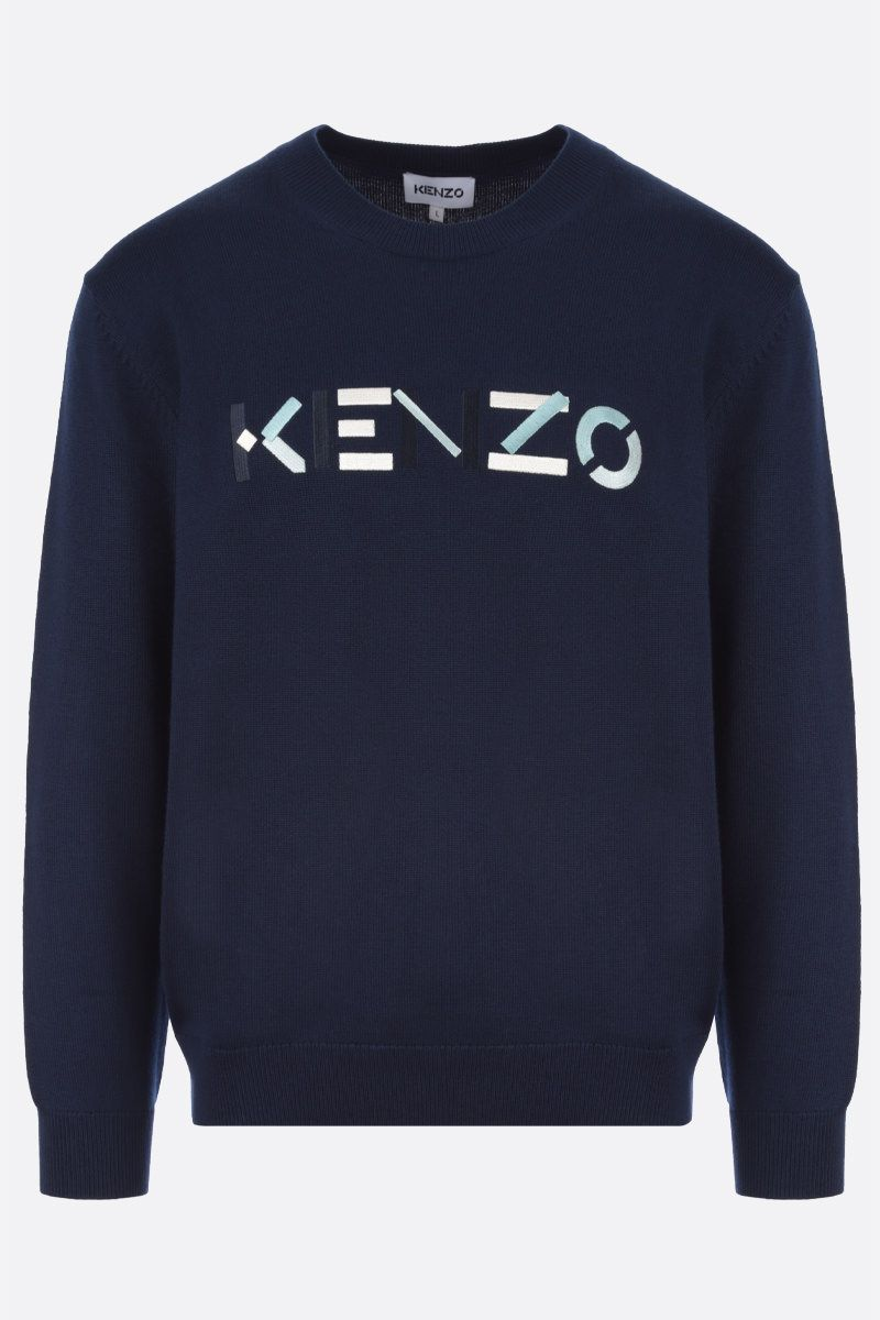 KENZO: Kenzo Logo wool pullover Color Blue_1