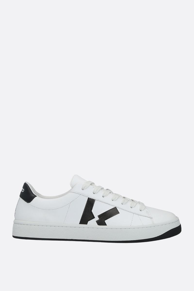 KENZO: Kenzo Kourt smooth leather sneakers Color White_1