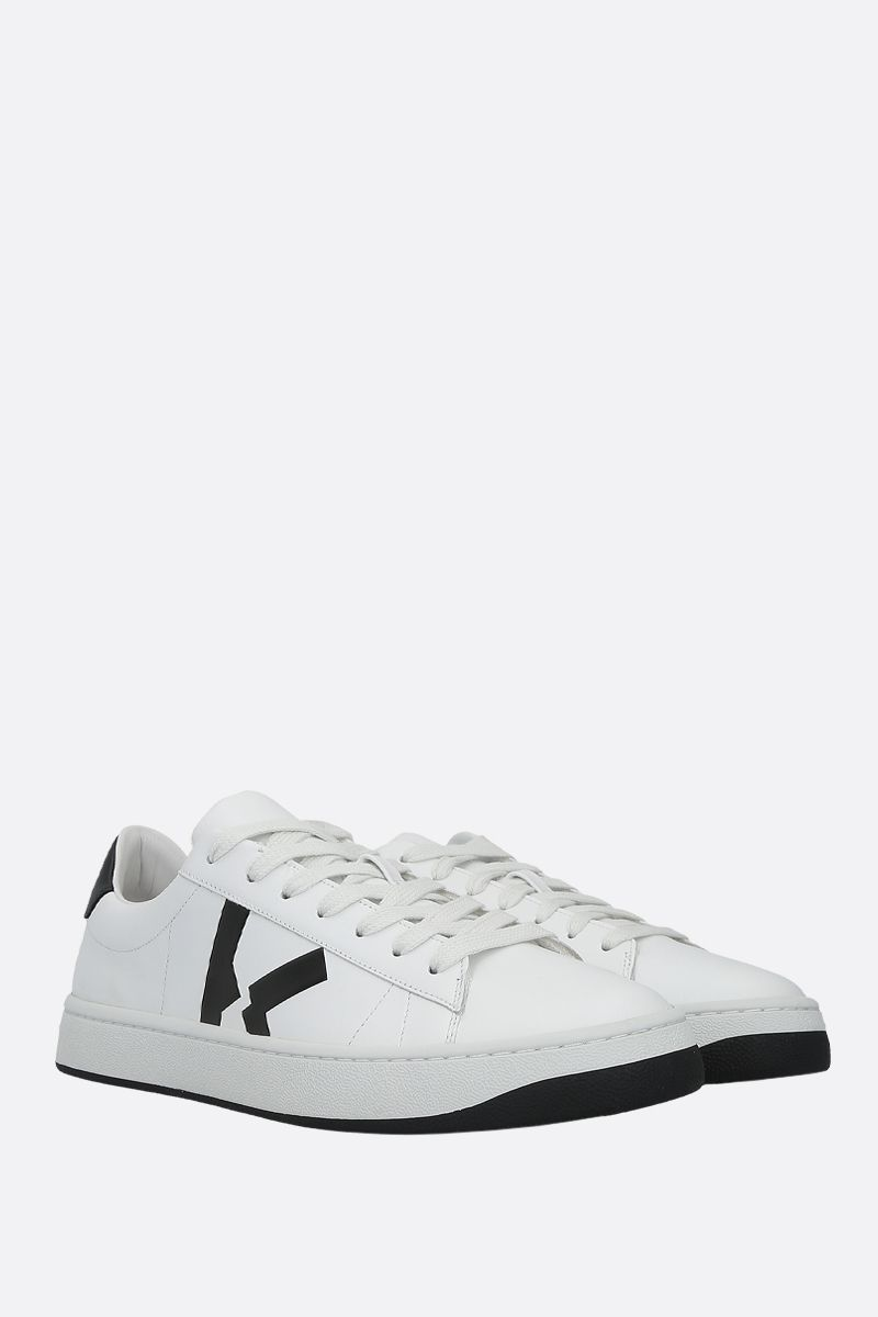 KENZO: Kenzo Kourt smooth leather sneakers Color White_2
