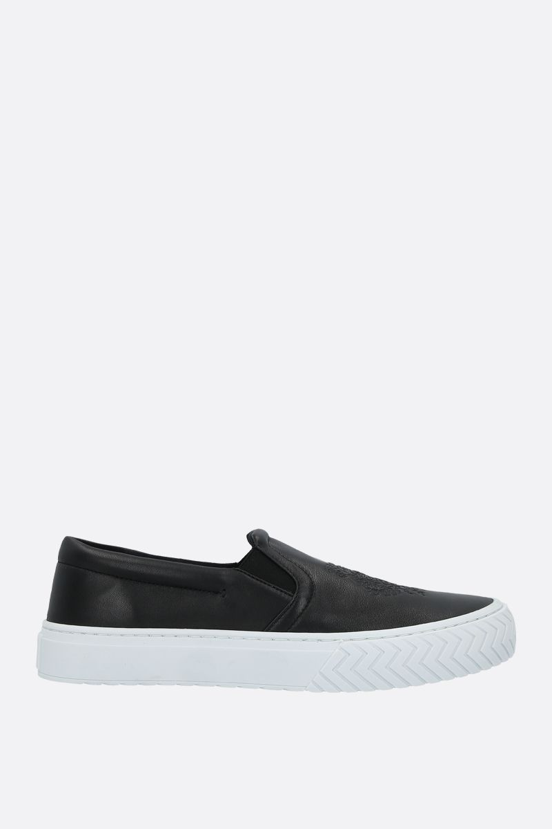 KENZO: K-Skate Tiger Head smooth leather sneakers Color Black_1