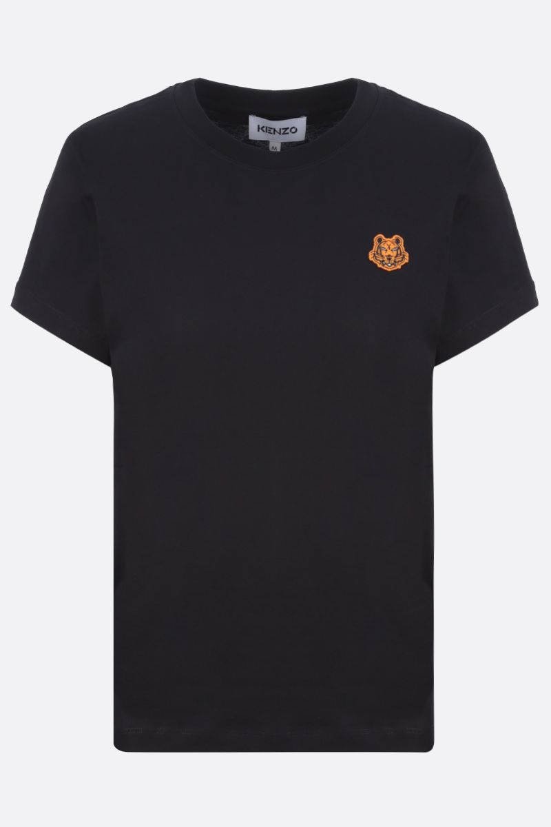 KENZO: t-shirt in cotone patch Tiger Head Colore Nero_1