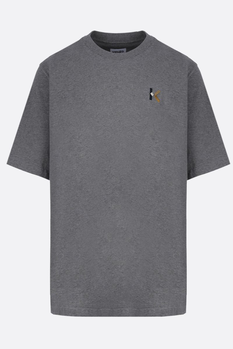 KENZO: K Logo oversized cotton t-shirt Color Grey_1
