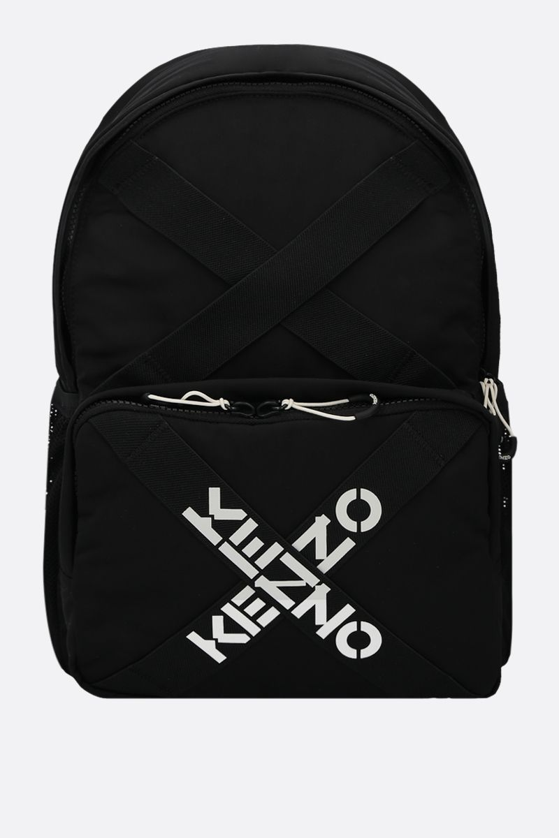 KENZO: logo-detailed nylon backpack Color Black_1