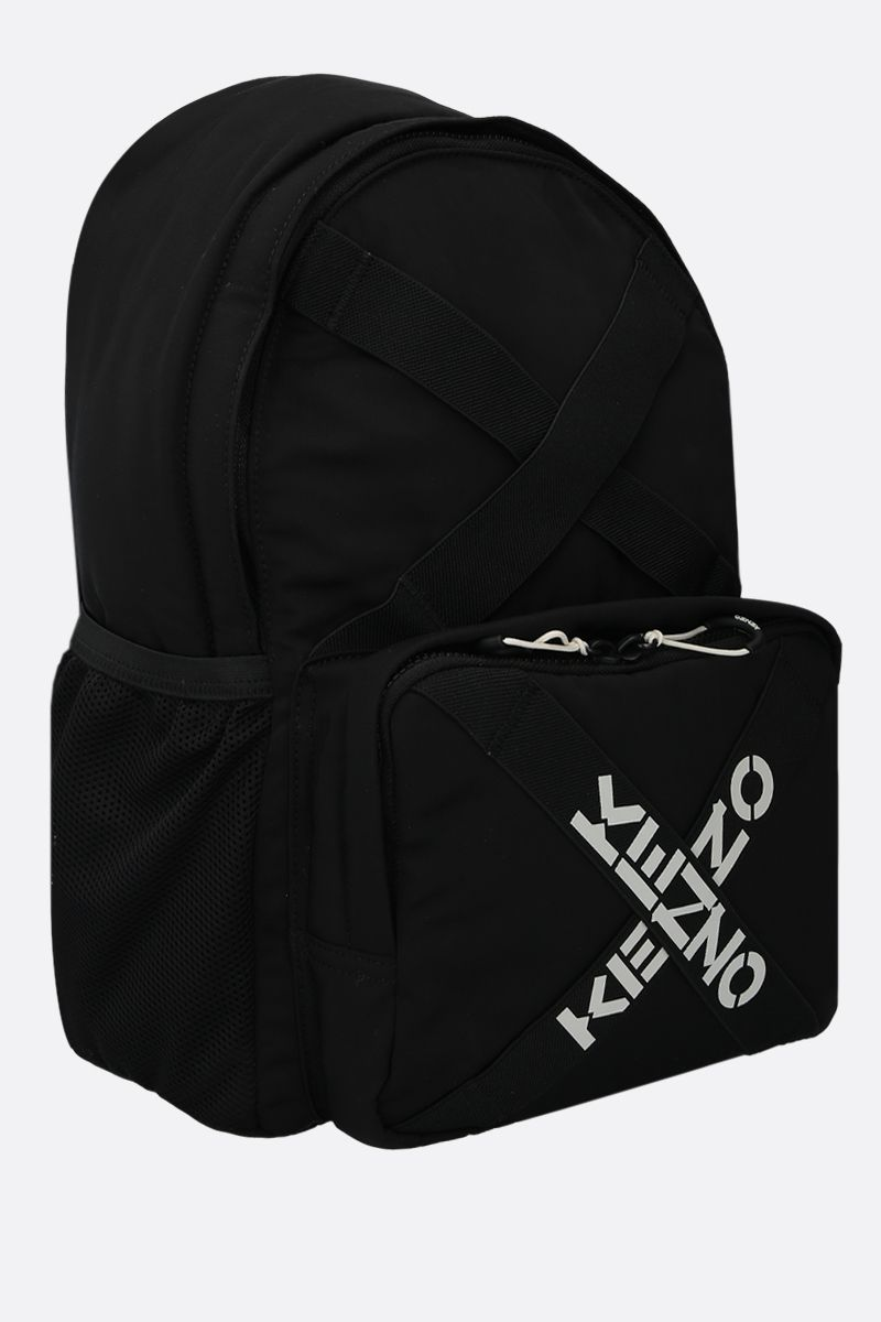 KENZO: logo-detailed nylon backpack Color Black_2