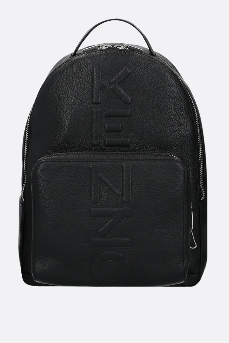 KENZO: embossed logo grainy leather backpack Color Black_1