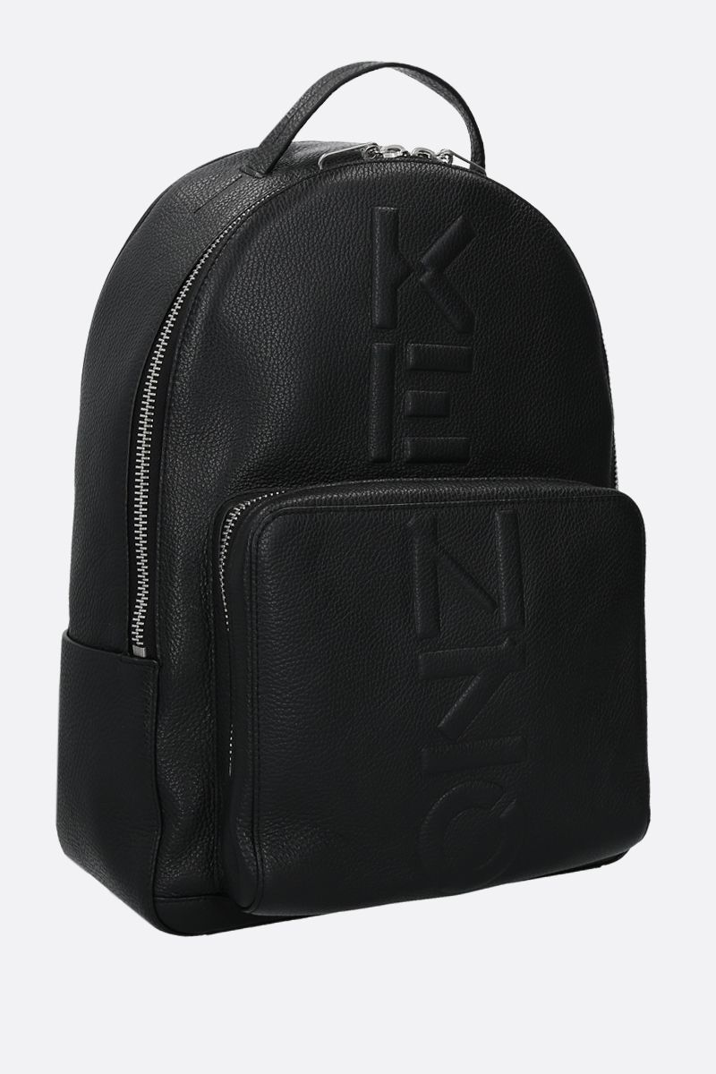 KENZO: embossed logo grainy leather backpack Color Black_2