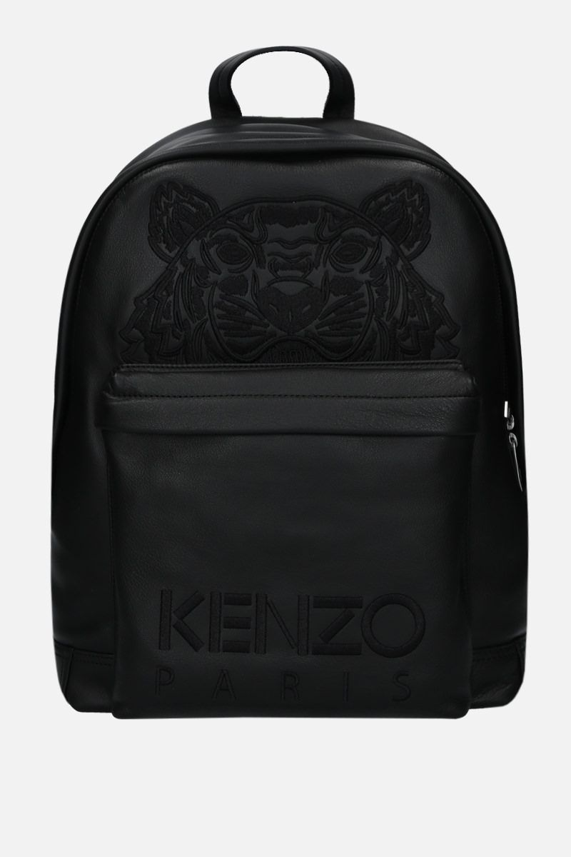 KENZO: Kampus Tiger grainy leather backpack Color Black_1