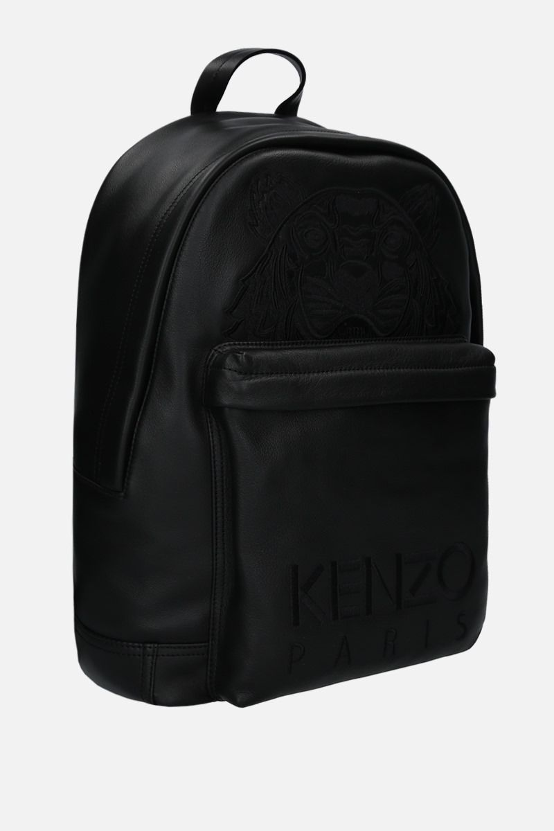KENZO: Kampus Tiger grainy leather backpack Color Black_2
