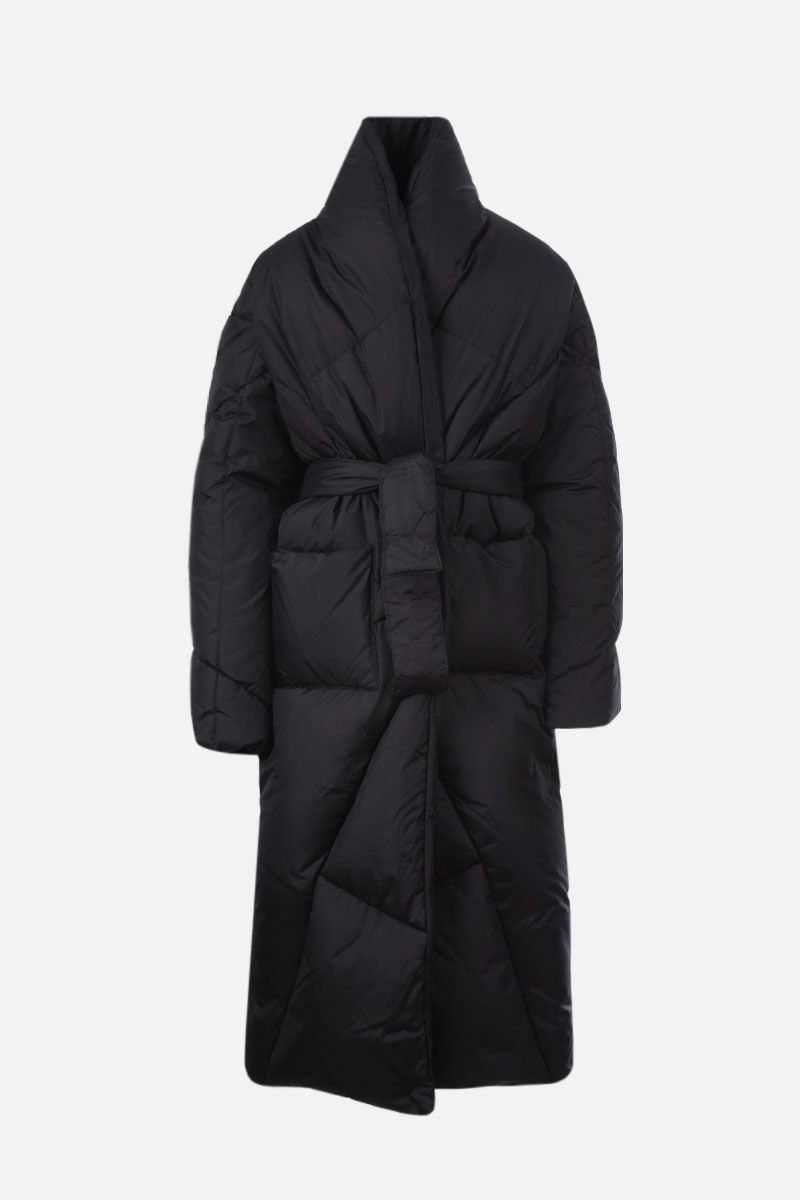 KHRISJOY: belt-detailed nylon long down jacket Color Black_1