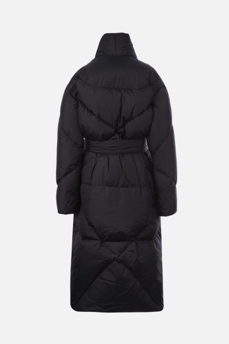 KHRISJOY: belt-detailed nylon long down jacket Color Black_2