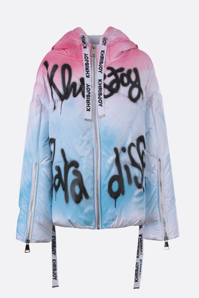 KHRISJOY: Khris Graphiti print nylon oversize puffer jacket Color Multicolor_1