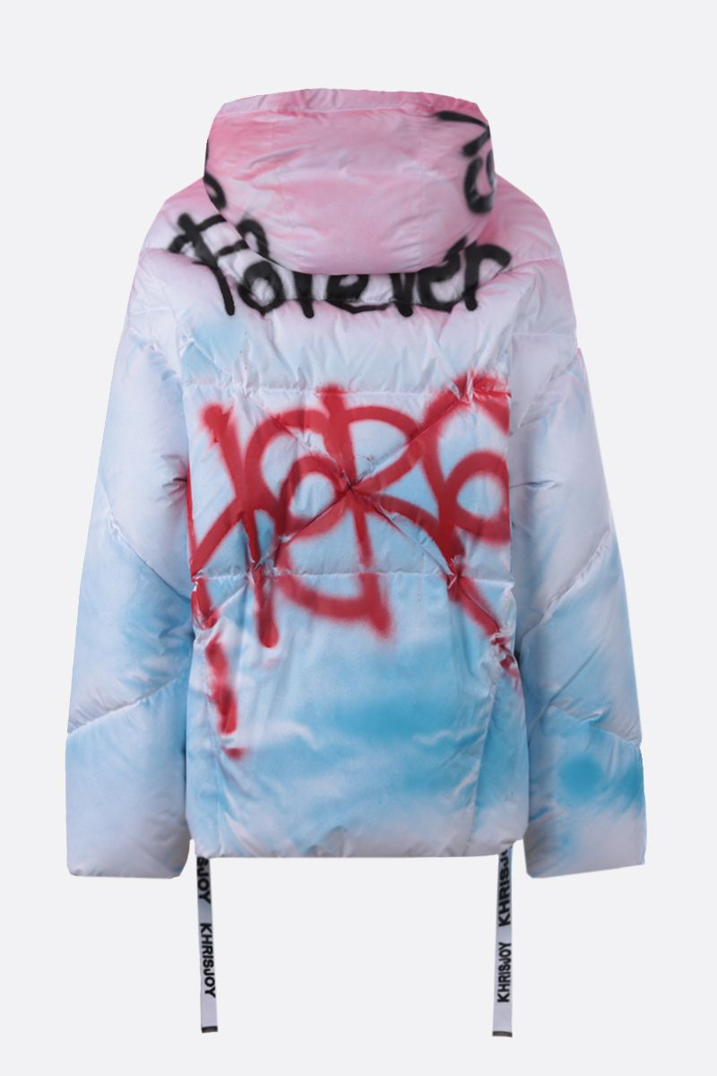 KHRISJOY: Khris Graphiti print nylon oversize puffer jacket Color Multicolor_2