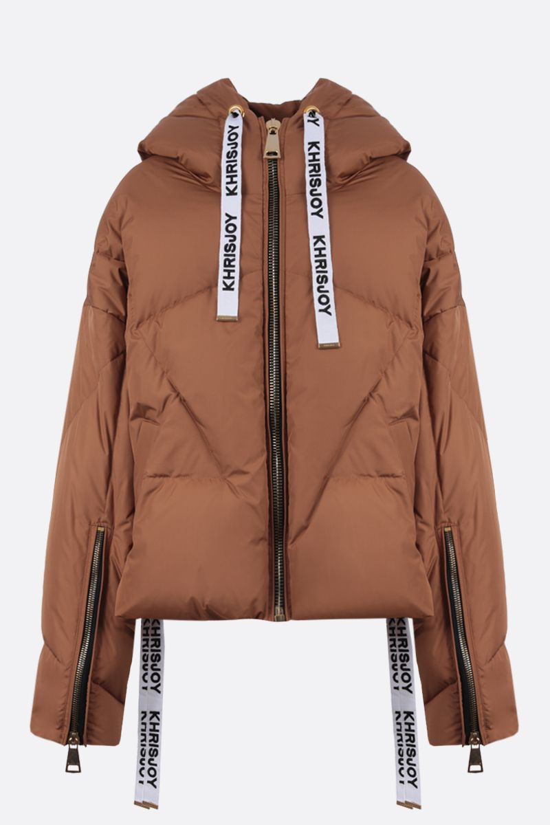 KHRISJOY: Khris nylon oversize puffer jacket Color Brown_1