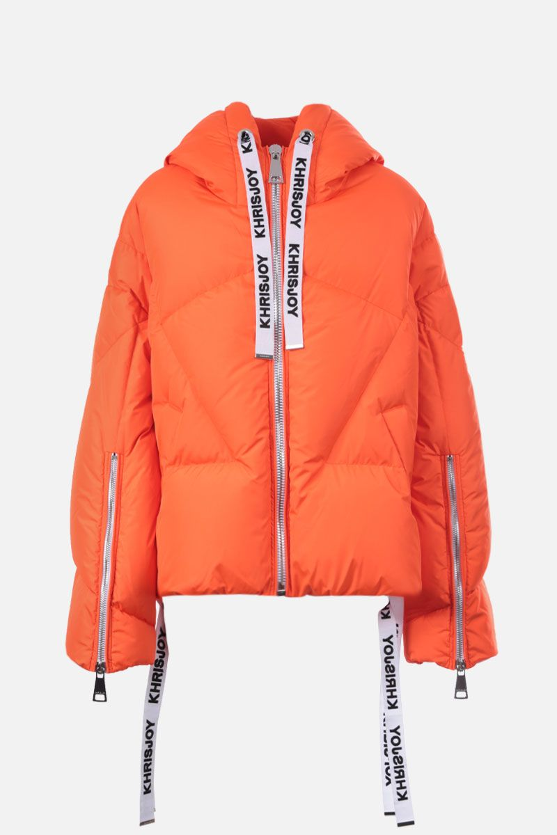 KHRISJOY: Khris nylon oversize puffer jacket Color Orange_1